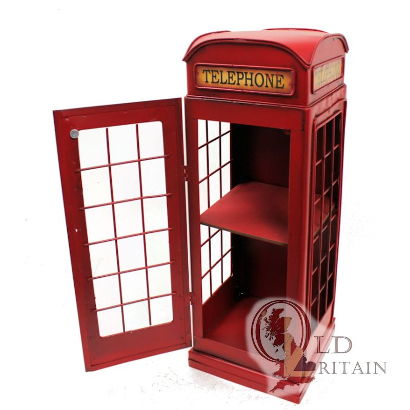 Telephone Box Cd Cabinet British Red Phone Storage Container